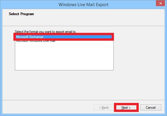choose Microsoft exchange