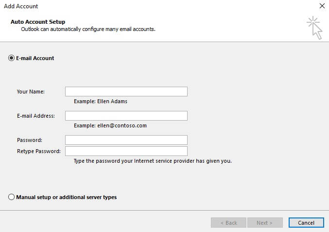 9. enter your email account credentials