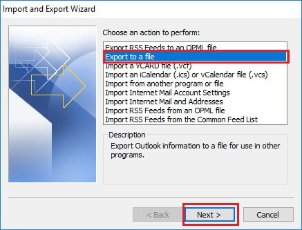 Choose Export to a file