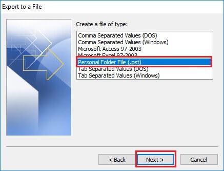 Select Personal Folder File(.pst)
