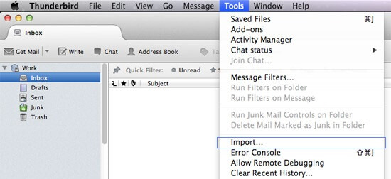 Import MBOX file in Thunderbird