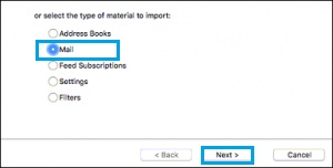 select the Mail option >> Next