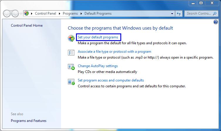 Set Outlook as a default program