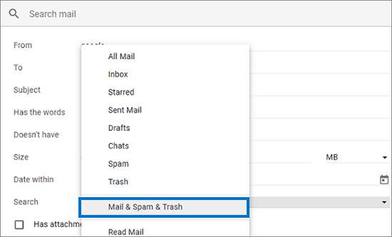 mail & trash