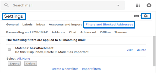 select the Filters and Blocked Addresses