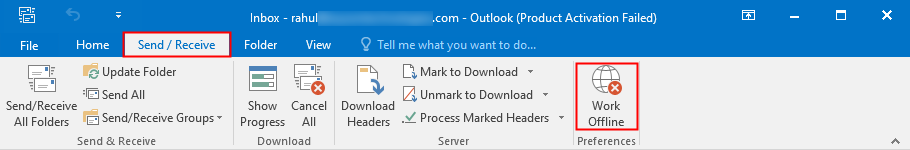 Outlook working offline to online