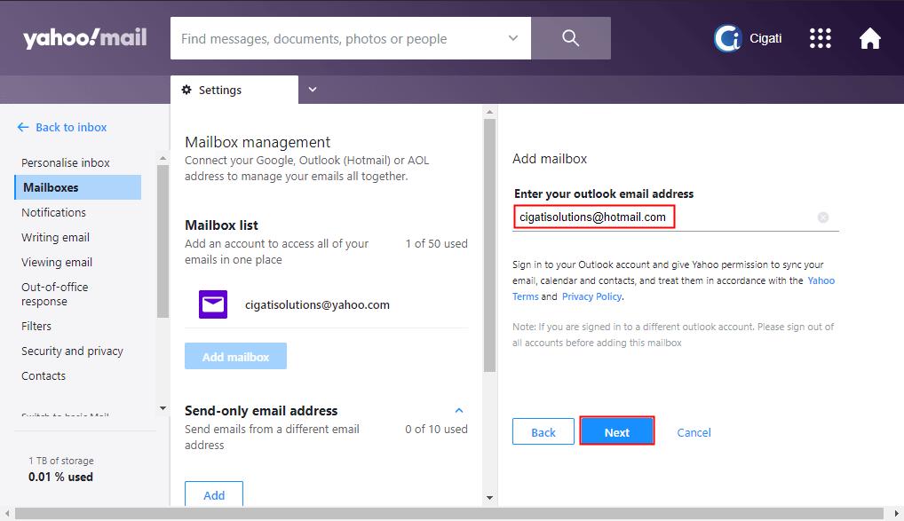 Forward Hotmail to Yahoo