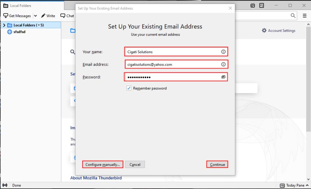 Setup Yahoo account to Thunderbird