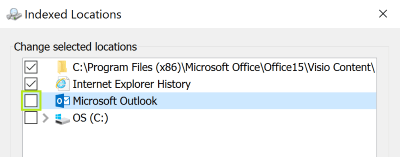 remove Outlook from the window Index
