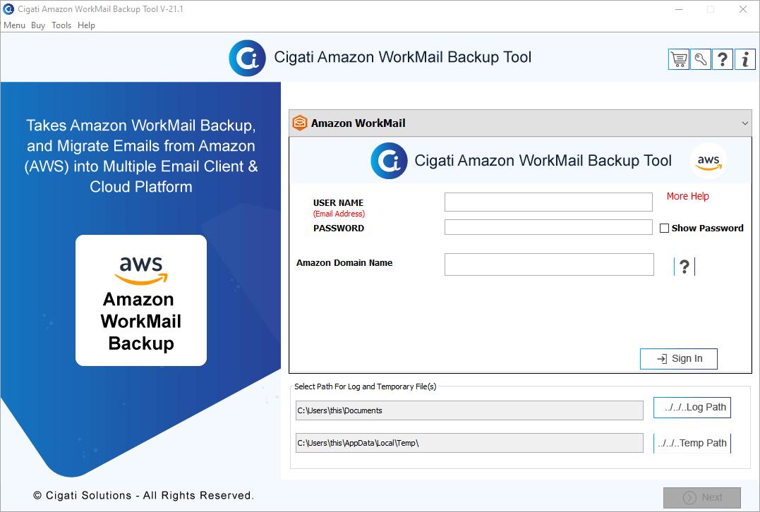 Cigati Amazon WorkMail Backup Tool