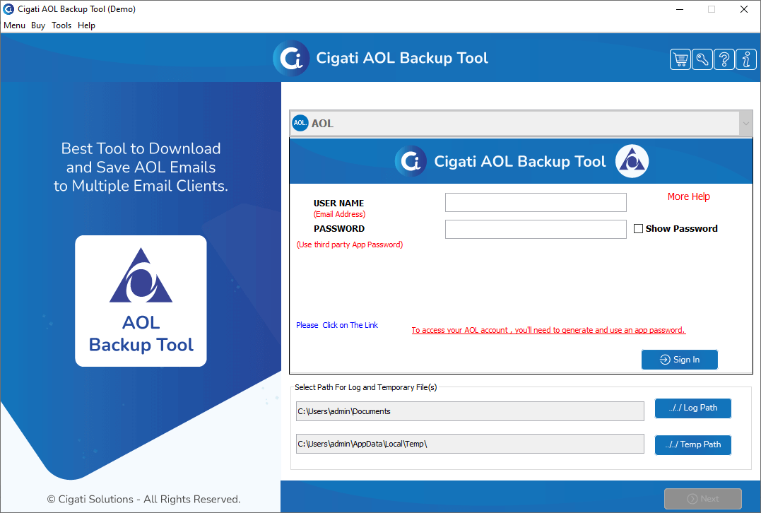 AOL Backup Software, AOL Backup tool, Windows AOL File Converter, AOL Conversion, Transfer AOL to PST, EML to EMLX, EML to Outlook, Email to Gmail, Free AOL File Converter Software