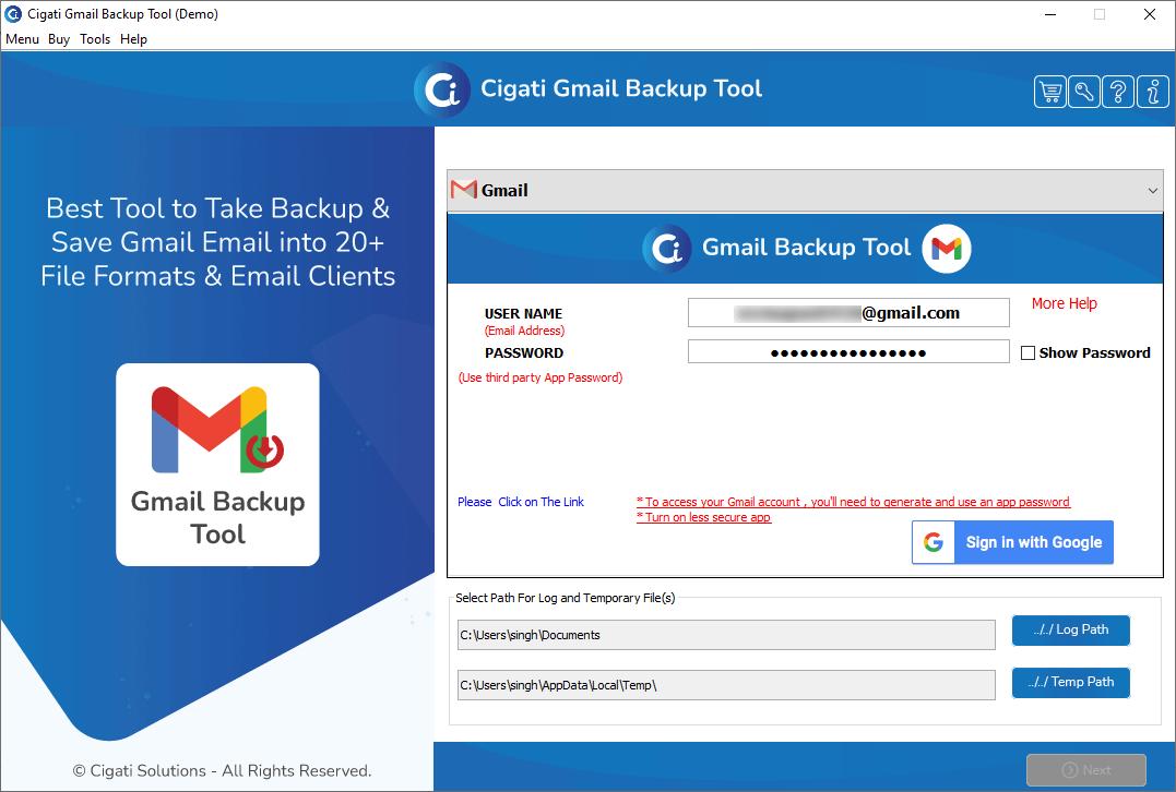 Cigati Gmail Backup Tool 19.0
