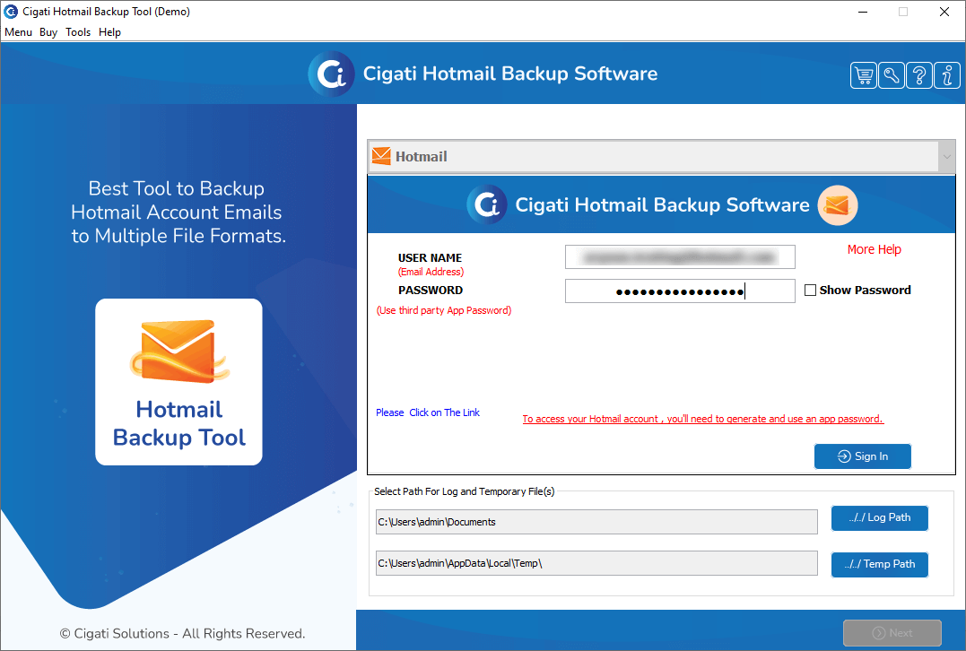 Hotmail Backup Software screenshot