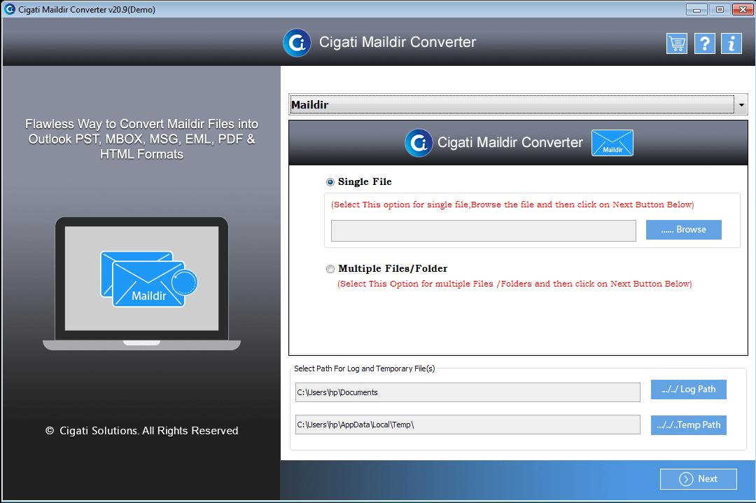 Cigati Maildir Converter full screenshot