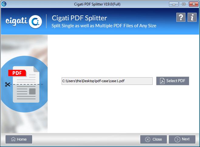 Split large sized PDF file