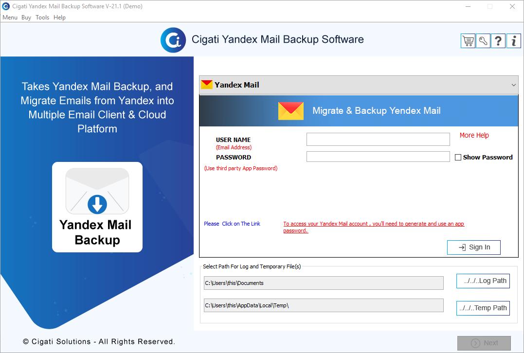 Cigati Yandex Backup Tool, Backup Yandex Emails, Yandex Mail Backup Tool, Yandex Backup Tool, Backup Yandex Mail Account, Yandex Backup Wizard, Export Yandex Emails, Migrate Yandex Emails. Yandex Email Backup Tool.
